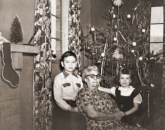 Woman and kids christmas